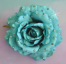"4.5"" Turquoise Blue Rose Swarovski Rhinestone Silk Flower HAIR Clip BROOCH Pin"