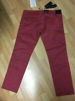 NWT Mens Armani Jeans J13 Stretch Chino Cargo Trouser Burgundy Slim W40 L32 H8