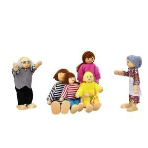 New Montessori Kawaii Dolls Cartoon Wooden House Family People Children Pretend