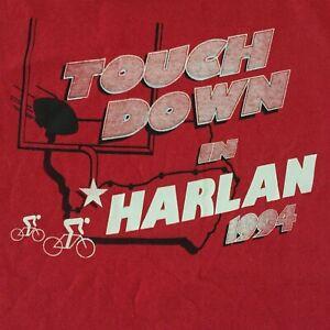 Vtg 90s Touch Down in Harlan 1994 T Shirt Sz XL Red Iowa Football Biking Cycling
