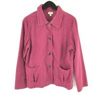 J.Jill Womens Button Front Jacket Pink Long Sleeves Pockets 100% Cotton M Casual