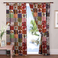 Indian Cotton Patchwork Print 2 pcs Curtain Window Curtain Door Valances Drapery