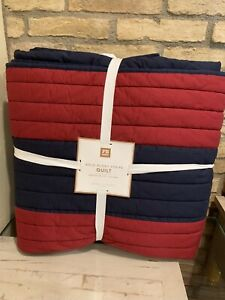 Pottery Barn Teen Bold Rugby Stripe Full Queen Quilt Red Blue New