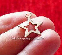 5pcs Stainless Steel Star Charms for Bracelet Hypoallergenic Pendant Silver