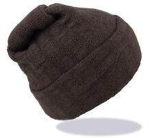Strickmütze Beanie einfarbig braun 100% Wolle (Merino) Unisex R-149