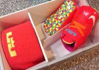 FRUITY PEBBLES NIKE Lebron XI GIFT PK Crib shoe 1C Crimson Orange PINK FREE SHIP