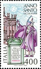 Francobollo Italia 1983 Anno Santo Papa e basilica di san Giovanni