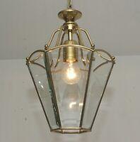 Estilo Antiguo Lámpara de Techo Latón Linterna Colgante Techo Luz Pedrería Araña