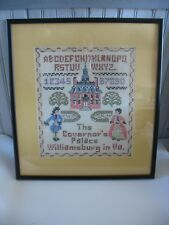 Vtg Cross Stitch Sampler Williamsburg Virginia The Governor's Palace FRAMED
