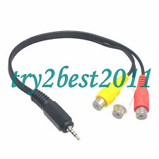 2.5mm Male Stereo Plug to 3 RCA Female Jack Audio Video AV Adapter Cable Nickel