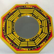 Feng Shui Yellow Black Red Wood Bagua with Mirror for Protection to Your Home