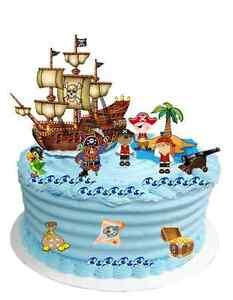 CHILDRENS PIRATE CAKE SCENE EDIBLE WAFER CARD BIRTHDAY DECORATION (uncut)
