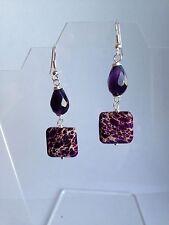 Purpule Jasper And Amethyst silver plated Earrings