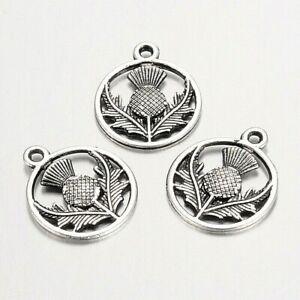 20 Small Tibetan Silver Scottish Thistle Charms 19 mm