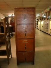 Oak 4 Drawer File Cabinet Old Crackle Finish Made in Ohio Hobart Brothers Co.