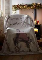 Christmas Sherpa Fleece Blanket Supersoft Throw Lazy Polar Bear 130CMS X 170CMS