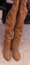 NEW  QUPID Brown Soft Leather Thigh High Over the Knee High Heel Boots Size 7.5