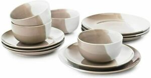 The Cellar 12-Pc. Taupe Porcelain Dinnerware Set, Service for 4 Plates Bowls New