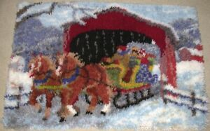 """LATCH HOOK RUG Horses w Carriage Covered Bridge  COMPLETED 26"""" x 40"""" NEW"""