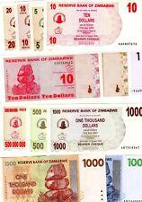 LOT SET SERIE 12 Billets Zimbabwe DIFFERENTS NEUF UNC