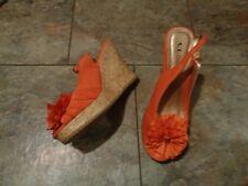 chinese laundry ilena orange slingback wedge heels shoes size