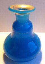 Flacon piriforme ou vase Charles X, cristal d'opaline bleue, liserés Or fin