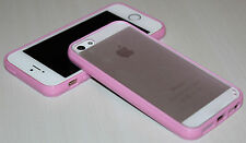 Apple iPhone 5 5s 6 6s Thin Slim Soft TPU bumper frame PC Hard back clear cover