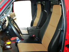 FORD RANGER 2010-2011 BLACK/BEIGE LEATHER-LIKE 2 FRONT SEAT & CONSOLE COVERS