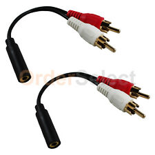 2 pc 2x RCA Male, 1x 3.5mm Stereo Female, Y-Cable 6-Inch Gold plated Connector