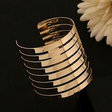 Women Men Punk Cuff Bangle Jewelry Charm Gold Hollow Multilayer Bracelet Fashion