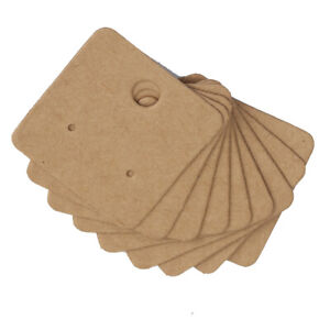 Jewellery Display Cards Earring Minis Studs Small Dangles Kraft Brown 4cm x 4cm