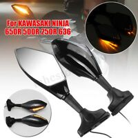 2x Motorcycle LED Turn Signal Light Mirror For KAWASAKI NINJA 650R 500R 250R 636