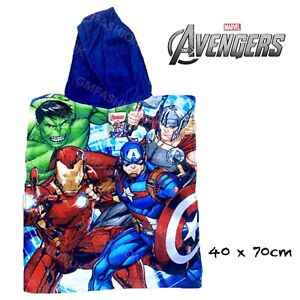 MARVEL AVENGERS Kids Toddler Character Hooded Poncho Bath Beach Swimming Towel