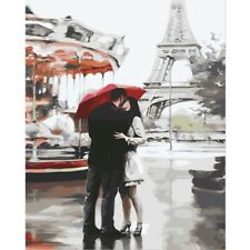 Paint By Number Kit Romantic Couple Kiss Paris Eiffel DIY Picture 40x50cm Canvas