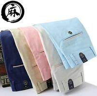 Men's linen blend breathable straight casual pants colors trousers size 28-38