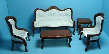 Dollhouse Miniature Victorian Living Room Sofa & Chairs Cream & Walnut T0128