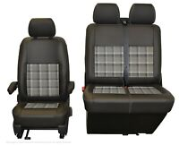 VW Transporter T6.1,T6, T5.1 Front INKA Tailored Seat Cover Grey Leatherette