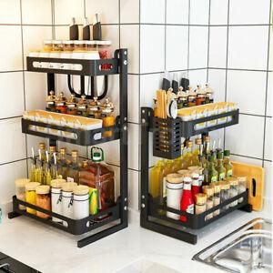 2/3Tier Spice Rack Steel Kitchen Cooking Shelf Organizer Storage Bottle Holder