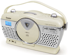 Steepletone Stirling Retrò Stile portatile Music System 3 banda FM/MW/LW Crema