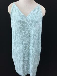 Gilligan O Malley lingerie size XL short gown green floral sleeveless stretch