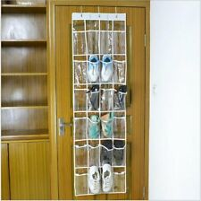 24 Pocket Over the Door Shoe Organizer Rack Hanging Storage Space Saver Crystal