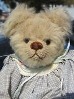 VINTAGE MOHAIR TEDDY BEAR GIRL DOLL DRESS ARTIST CHRISTINE HANDCRAFTED TOY 9""