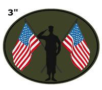 Veteran Military 6439 LADY VET with American Flag 4 x 1.5 iron on Top Rocker patch JJ