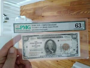 1929 National Cleveland $100 Federal Reserve Bank Note PMG 63 EPQ beautiful note