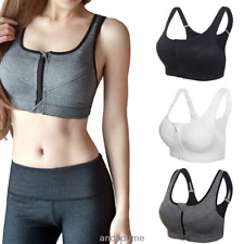 Women's High Impact Front Zip Wireless Padded Cup Tank Top Gym Sports Bra S-XL