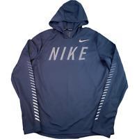 NIKE Running Dri-Fit Mens Sweatshirt Hoodie Medium Blue Logo Spell Out