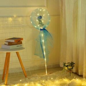 "20""LED String Lights Tulle Balloon With Column Stand Luminous Bobo Balloon Decor"
