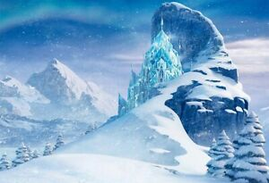 7x5ft Fariy Tale Frozen Snow Mountain Castle Photo Banner Backdrop Background