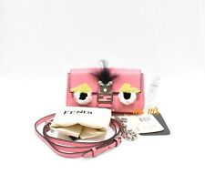 NEW Auth FENDI Bag Bug Micro Baguette Monster 2 WAY Bag Leather Crossbody Pink
