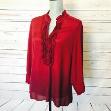 Nine West LARGE Ombre Burgundy Red Tunic Ruffle Top Blouse Shirt ¾ Sleeve Hi-Low